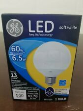 New GE LED  Soft White Frosted Globe 6.5 Watts G25