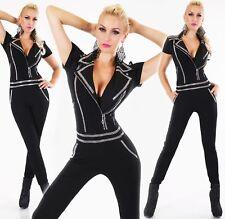 Womens Jumpsuit Leisure Suit Rhinestone Studded Long Zipper Short Sleeve 8,10,12