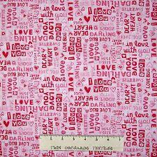 Valentine's Day Fabric - Dear Heart Love Words Patch Pink - Studio E YARD