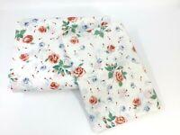 1981 J.P. Stevens Tastemaker KING Flat Sheet & 1 Pillowcase Peach & Blue Roses