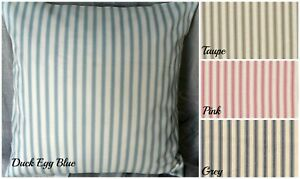 Cotton Ticking Fabric Cushion Cover - Duck egg, Pink, Taupe or Grey