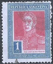 "Argentina Stamp - Scott #353/A105 1p Blue & Red ""San Martin"" Canc/LH 1923-1924"