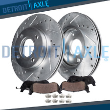 Front Drilled Brake Rotors & Ceramic Brake Pads - 2000 - 2004 Focus w/Rear Drums