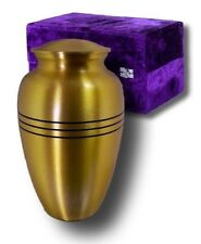 ALL BRASS FUNERAL CREMATION URN W. BOX, INFANT/PET SIZE