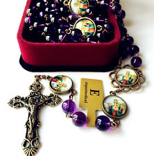 AMETHYST BEADS ST.THERESE ROSARY Vintage CROSS CRUCIFIX CATHOLIC NECKLACE BOX
