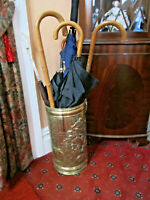 Old Antique Edwardian Embossed Brass Medieval Scene Umbrella Walking Stick Stand