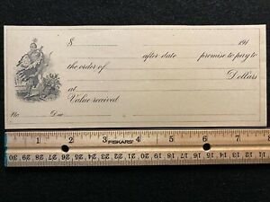 1910 ERA UNITED STATES **UNISSUED** {{{INDIAN VIGNETTE}}} PROMISSORY NOTE! NICE!