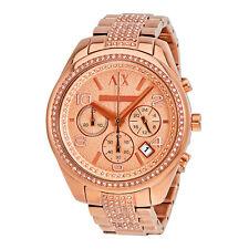 Armani Exchange Sarena Chronograph Rose Dial Rose Gold-plated Ladies Watch