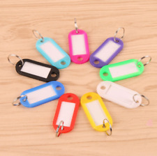 Hot 20pcs Plastic Keychain Key Split Ring ID Tags Name Card Label Language Fob