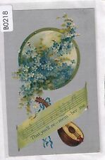 B0218cgt Flowers Mandolin Music Xmas Wishes vintage postcard