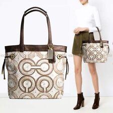 NWD 🌼 Coach Audrey Signature OP Art Leigh Tote Shoulder Bag 17044 Brown Multi