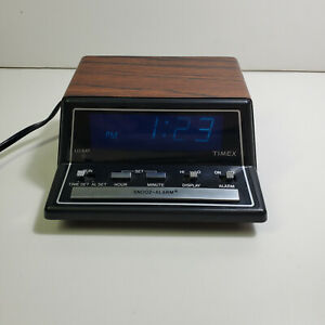 Timex 5221 Blue Display Wood Grain Alarm Clock