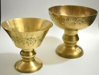 Set of two Vintage Brass Pedestal Bowl Dish Cup Decorative Etched From India