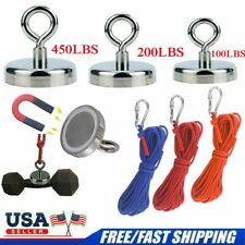 Up 100 450 Lbs Fishing Magnet Kit Pull Force Super Strong Neodymium 10m Rope