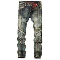 New Men's Distressed Denim Jeans Knee Patch Trousers Casual Slim Fit Pants