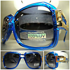 CLASSIC RETRO VINTAGE PARTY CLUB PIMP DJ COSTUME SUN GLASSES Crystal Blue & Gold