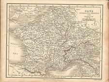 1828 mapa de la Galia. grabado para & publicado por J. Vincent de Oxford