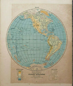 "WESTERN HEMISPHERE Rand Mcnally & Co 1927 Map Print 14"" x 11"" Premier Edition"