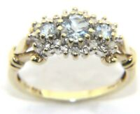 Women's/Ladies 9ct 9carat Yellow Gold Diamond & Aquamarine Trilogy Ring Size N