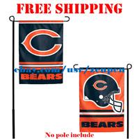 "Chicago Bears Logo Garden Outdoor Flag Double Sides 12x18"" NFL 2019 Fan NEW"