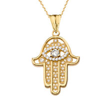 14k Yellow Gold Chic Hamsa Evil Eye Pendant Necklace