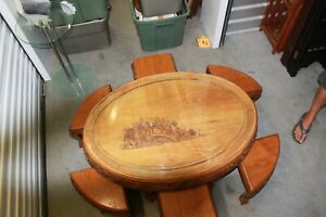 Chinese Tea Table with 6 matching stools, beautifully carved with Glass top to f