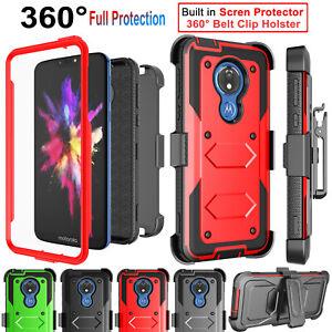 Motorola Moto G7 Power/Supra/Optimo Maxx Case Cover with Screen Protector Clip