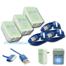 3X 4 USB PORT WALL ADAPTER+6FT CABLE CORD CHARGER SYNC BLUE FOR IPHONE IPOD IPAD