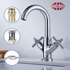 Cross Head Bathroom Sink Taps Brass Chrome Mono Basin Mixer Tap & Waste & 2 Hose