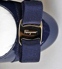 Salvatore Ferragamo Varina Patent Ballet Flats - OXFORD BLUE - Super NEW IN BOX!