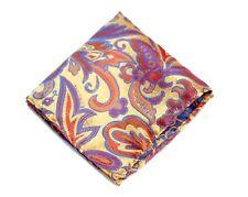 Umberto Algodon Napoli Men's Sun Gold Fire Floral Batik Woven Pocket Square