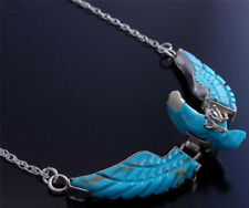 Carved Turquoise Etched Eagle Necklace Hinged wings by Ben Livingston  - VN10U
