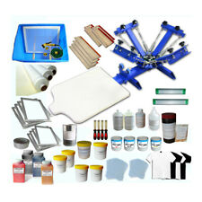4 Color 1 Station Screen Press Machine & Printing Materials Kit with Squeegee