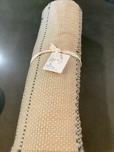pottery barn larkspur natural striped handwoven table runner 18x108 #1946