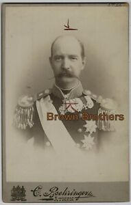 1890s King of Greece George I in Uniform Assassinated 1913 Cabinet Photo #2 - BB