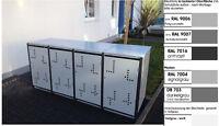 Metall Mülltonnenbox Müllbox Metall Mülltonnenschrank 4x240-l-D-foliert