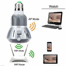 Bulb WIFI Spy Hidden Camera Home Security Motion Detector Camcorder 1080P HD