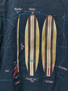 Vintage Tori Richard SURFBOARD Embroidered Camp Shirt Size L Thrusters Fins