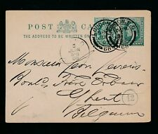 Gb 1903 Ke7 Stationery to Belgium Uprated with F Perfin