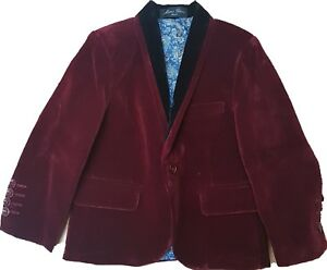 Boys Kids Velvet Blazer Jacket Wine Maroon Black Lapels 1-15 Years Suit Formal