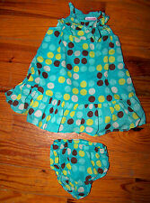 Girls Genuine Kids 2pc Green Aqua Brown Yellow Polka Dot Ruffles Dress 12 Months