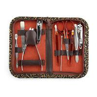 Nail Care 10 Piece Cutter Cuticle Clipper Manicure Pedicure Kit Case Gift Set GA