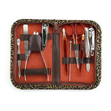 Nail Care 10 Piece Cutter Cuticle Clipper Manicure Pedicure Kit Case Gift Set MT