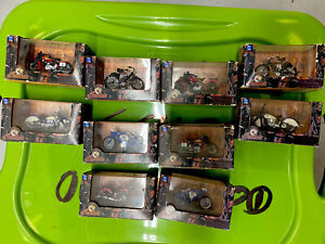 Lot Of 10 Indian Motorcycle Miniatures 1:32 Die Cast W/ Plastic, New In Boxes