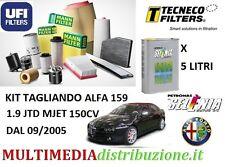 KIT TAGLIANDO FILTRI+ 5LT OLIO ORIGINALE SELENIA 5W-40 ALFA 159 1.9 JTD 150CV