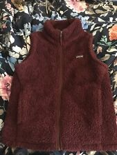 Patagonia Girls Med Los Gatos 💜 Vest Burgundury Fleece Shaggy Full Zip Soft
