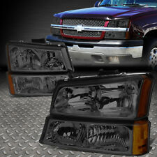 FOR 2003-2006 CHEVY SILVERADO SMOKED HOUSING AMBER SIDE HEADLIGHT/LAMP SET 4PCS