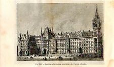 Stampa antica St. PANCRAS RAILWAY STATION stazione treni London 1889 Old Print