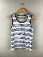 Country Road Women's Tank Top Blue White Stripe Cotton Singlet Shirt Size Small