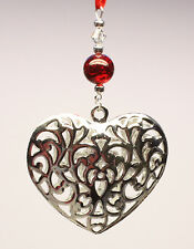 Christmas Tree Ornament Decoration Shiny Silver Heart made with Swarovski Crysta